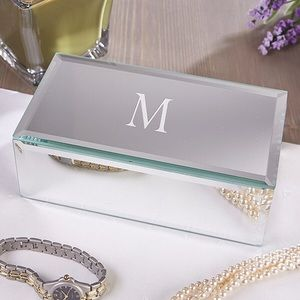 NWOT 'C' monogrammed mirror jewelry box